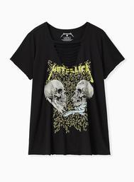Metallica Skull Slashed Tee - Black