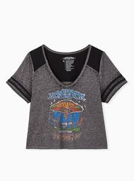 Boston Crop Football Tee - Burnout Charcoal Grey & Black