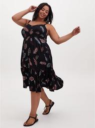 Super Soft Black Feather Shirred Hem Midi Dress