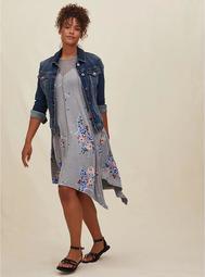 Grey Floral Jersey Handkerchief Fluted Dress
