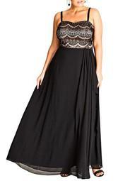Eyelash Ebony Lace & Chiffon Gown