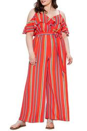 Striped Cold Shoulder Jumpsuit (Plus Size)