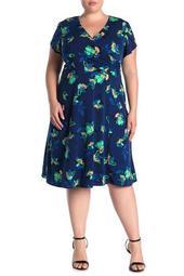 Tulip Sleeve Belted Wrap Dress (Plus Size)