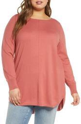 Seam Detail Shirttail Tunic (Plus Size)