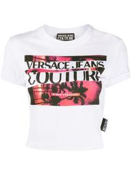 graphic print cropped T-shirt