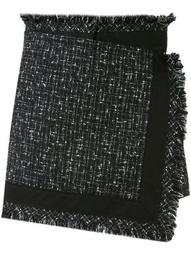 frayed-edged wrap mini skirt