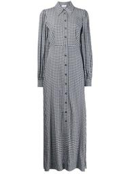 checkered long shirt dress
