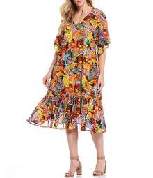 Plus Size Flutter Sleeve Multi Animal Print Flounce Hem Midi Dress