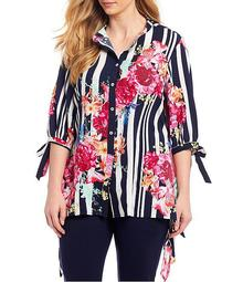 Plus Size Woven 3/4 Tie Sleeve Stripe & Floral Tunic