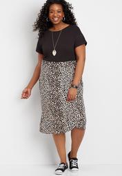 Plus Size Leopard Wrap Skirt