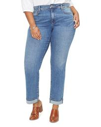 Marilyn Straight-Leg Cuffed Ankle Jeans in Rhodes