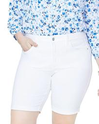 Briella Roll-Cuff Bermuda Shorts in Optic White