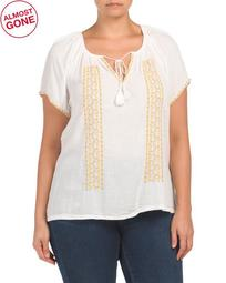 Plus Embroidered Short Sleeve Peasant Top