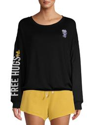 Peanuts Women's and Women's Plus Snoopy Embroidered Long Sleeve Sleep Top