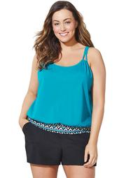Swimsuits For All Women's Plus Size Loop Strap Blouson Tankini Set with Cargo Short