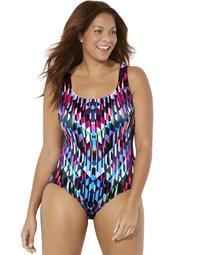 Swimsuits For All Women's Plus Size Longitude X-Back Tank Swimsuit