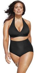 Swimsuits For All Women's Plus Size Black High Waist Halter Bikini Set 4 Jet Black