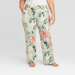 Women's Plus Size Floral Print Beautifully Soft Pajama Pants - Stars Above™ Mint