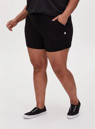 Black Terry Drawstring Active Mid Short