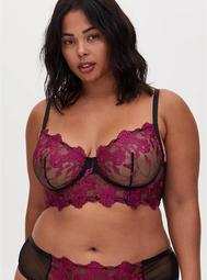 Black Mesh & Berry Purple Embroidery Unlined Underwire Bralette