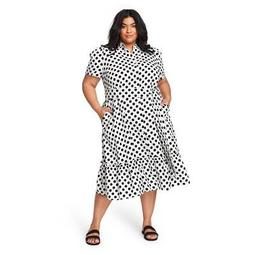 Women's Polka Dot Puff Sleeve Shirtdress - Lisa Marie Fernandez for Target (Regular & Plus) White/Black