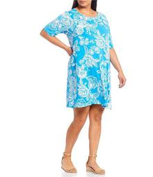 Plus Size Intricate Floral Print Elbow Sleeve Knit Dress
