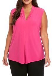 Plus Size Solid Sleeveless V Neck High Low Cami