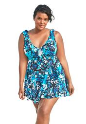 Swim 365 Women's Plus Size Faux-Wrap Swim Dress