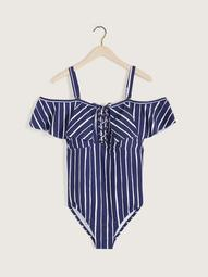 Shore Thing Cubana Striped One-Piece Swimsuit - Raisins Curve