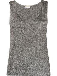 metallic sleeveless top