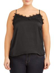 Love Sadie Womens Plus Size Lacey V-Neck Satin Camisole