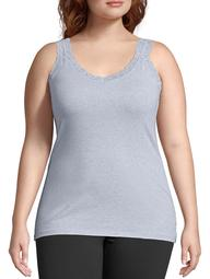 Just My Size Women's Plus Size Stretch Jersey Lace Trim Camisole