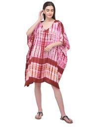 Tie Dye Short Kaftan for Women Geometric Stripes Tunic Top Beach Women Cover-ups Plus Size Short Caftan Nightwear Online By Oussum