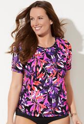 Swimsuits For All Women's Plus Size Chlorine Resistant Swim Tee