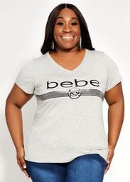 Bebe Sport Mesh Trim Logo Tee