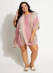 Dalin Abstract Lace Up Cover Up