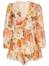 lace-trimmed floral-print cotton playsuit
