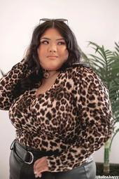 Plus Size Leopard Mock Wrap Top