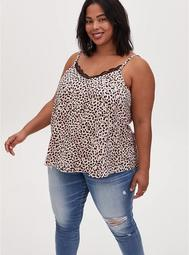 Sophie - Leopard Satin Charmeuse Swing Cami