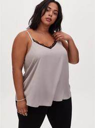 Sophie - Pebble Grey Textured Satin Charmeuse Swing Cami