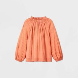 Women's Plus Size Striped Jacquard Long Sleeve Blouse - Prologue™ Orange