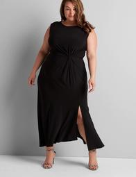 Sleeveless Midi Dress With Ruched Waist