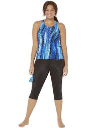 Swimsuits For All Women's Plus Size Chlorine Resistant H-Back Tankini Set with Capri