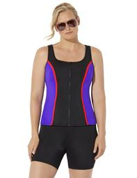 Swimsuits For All Women's Plus Size Chlorine Resistant Colorblock Zip Front Tankini Set with Bike Short