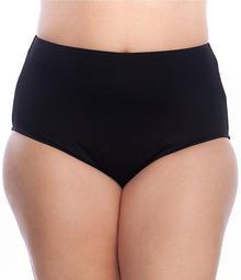 Plus Size Solids High Waist Tummy Control Swim Bottom