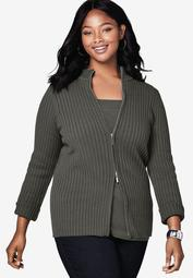 Ribbed Zipper Cardigan
