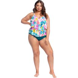 Kenneth Cole Women's Plus Size Triple-Tier Tankini Top By Kenneth Cole Reaction