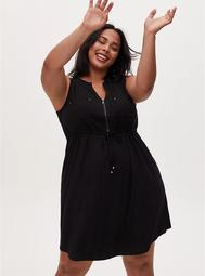Black Challis Sleevless Zip Front Drawstring Shirt Dress