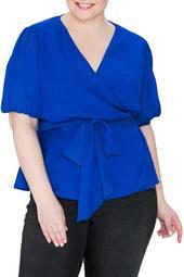 Surplice Bubble Sleeve Wrap Top (Plus Size)