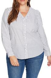 Ruffle Trim Stripe Blouse (Plus Size)